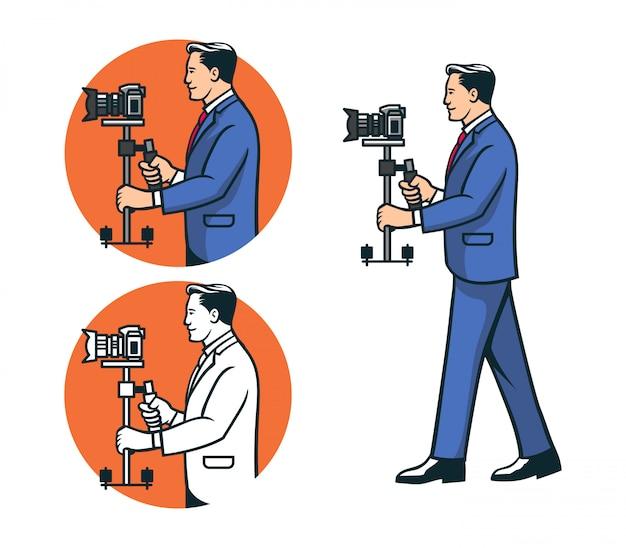 Gentlemen photographer utilizza il logo dello stabilizzatore della fotocamera
