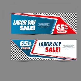 Geometria moderna della bandiera di web di festa del lavoro per vendita di sconto, offerta speciale dell'insegna di vendita istantanea