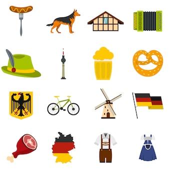 Germania imposta icone piatte