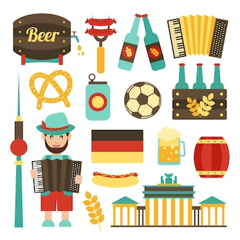 Germania viaggio attrazioni turistiche cibo e birra icone impostare isolato illustrazione vettoriale