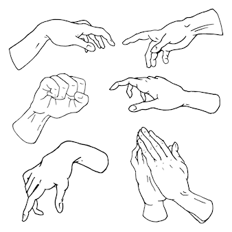 Gesti di braccia si fermano, palmo, pollice in alto, dito puntato, ok, mi piace e preghiere o stretta di mano, pugno e pace o rock n roll.