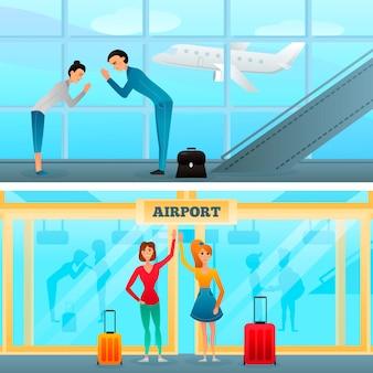 Gesti di incontro e saluto ai banner dell'aeroporto