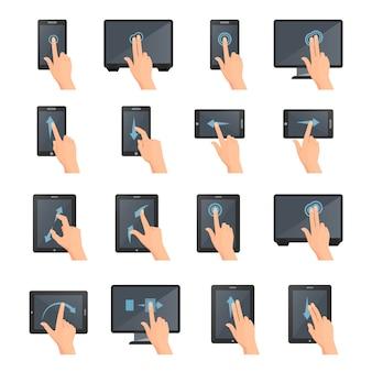 Gesti di mano sulla raccolta decorativa isolata colorata piana delle icone dei dispositivi digitali di tocco