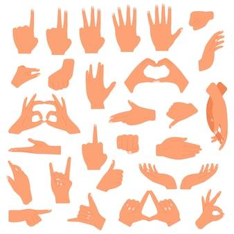 Gesti mani. gesto di mano di comunicazione, indicando, contando le dita, segno giusto, insieme dell'illustrazione di lingua di gesto della palma. gesturing espressione del segnale, puntamento e stretta di mano