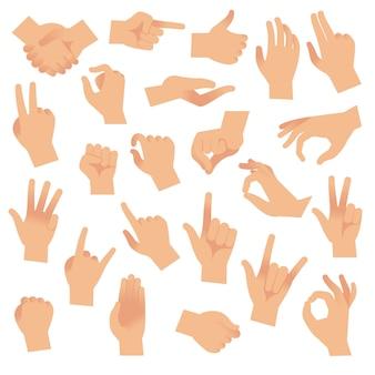 Gesti mani. mano con i gesti di conteggio, segno dell'indice. braccio aperto che mostra il segnale, insieme di vettore di comunicazione interattiva