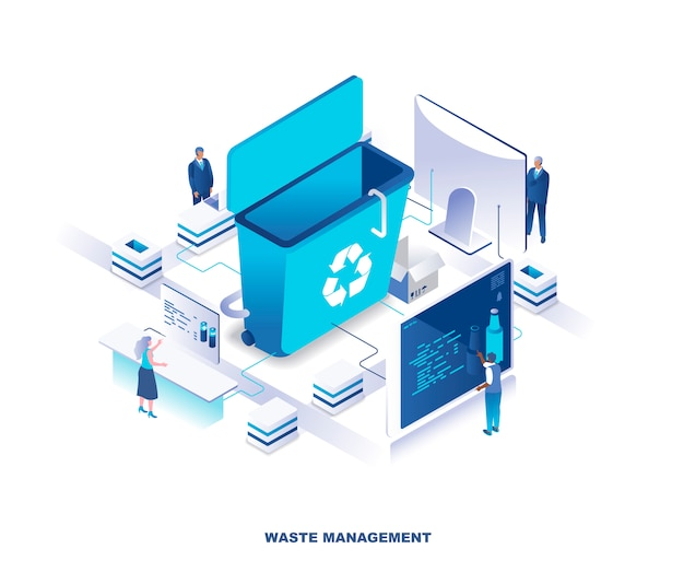 Gestione dei rifiuti o servizio di smaltimento, concetto di tecnologia isometrica