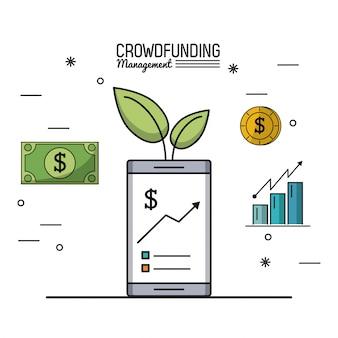 Gestione del crowdfunding con smartphone e grafici in crescita economica