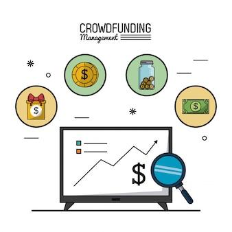 Gestione del crowdfunding con tv con grafici in crescita economica
