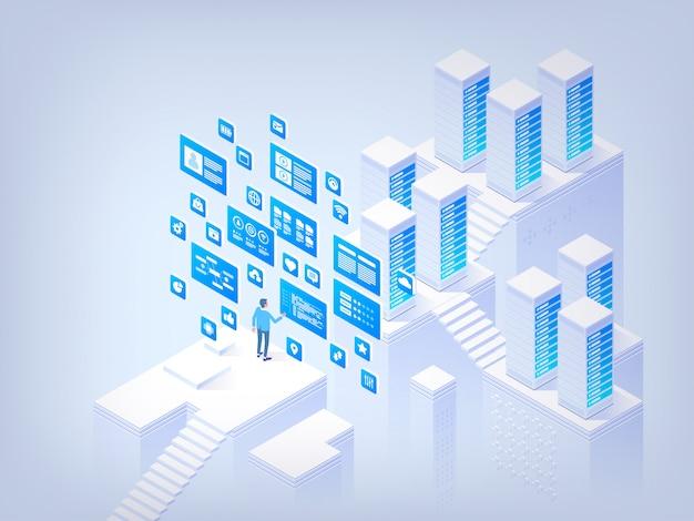 Gestione del database. concetto dell'illustrazione isometrica di vettore di ciao tecnologia