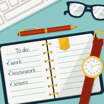 Gestione del tempo con un taccuino, una matita e un orologio