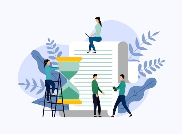 Gestione del tempo, concetto di programma o pianificatore, illustrazione di vettore di concetto di affari