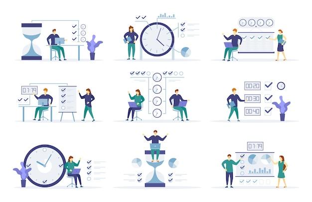 Gestione del tempo, distribuzione della priorità dei compiti, pianificazione strategica, organizzazione dell'orario di lavoro, programma di gestione personaggi persone vicino all'orologio le persone stanno lavorando su un programma per il progetto. vettore.