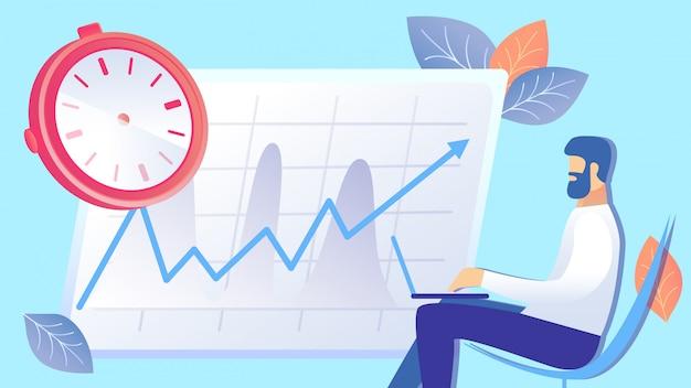Gestione del tempo, illustrazione piana di aumento di efficienza