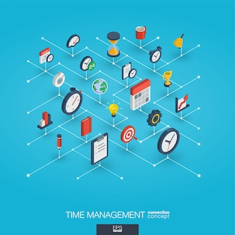 Gestione del tempo integrata icone web 3d. concetto di crescita e progresso
