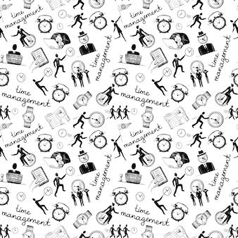 Gestione del tempo senza soluzione di continuità con illustrazione vettoriale di icone di schizzo delle imprese