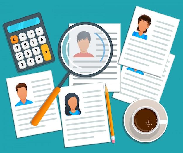 Gestione delle risorse umane di concetto, processo di assunzione. ricerca di lavoro. servizio di collocamento. agenzia di reclutamento che sceglie un cv candidato da assumere. assunzione di dipendenti. design piatto