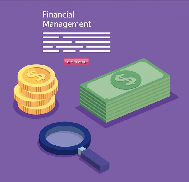 Gestione finanziaria con lente d'ingrandimento e contanti