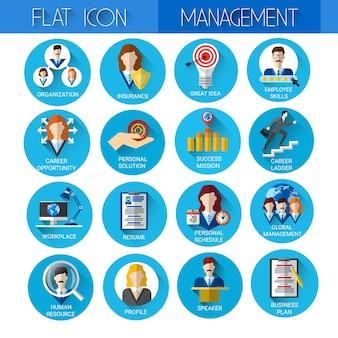 Gestione imposta raccolta di icone di affari