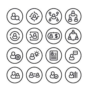 Gestione, risorse umane, icone della linea delle risorse umane messe su bianco