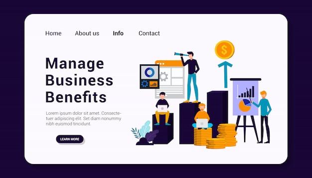 Gestire i vantaggi aziendali modello di pagina di destinazione con il concetto di gruppo umano aziendale, design piatto.