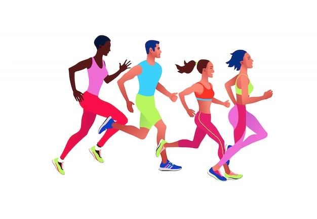 Gestire persone multinazionali. uomini e donne fare jogging o correre maratona
