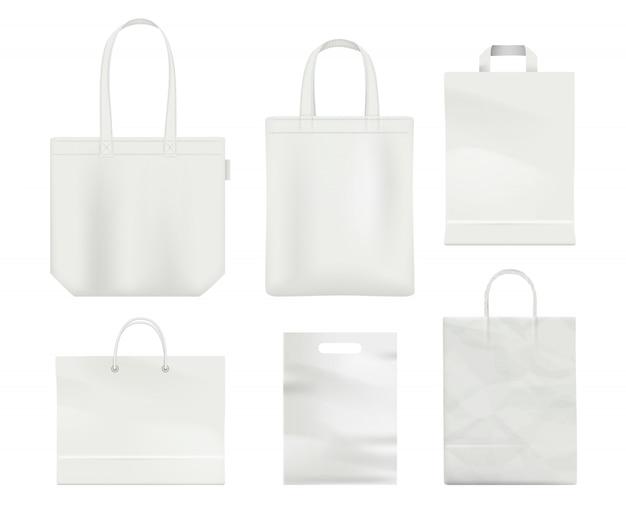 Gestisca il modello bianco realistico vuoto di vettore del sacchetto della spesa in bianco