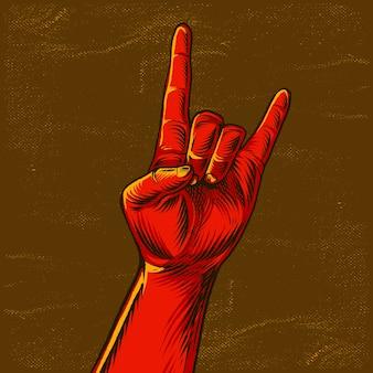 Gesto del segno della mano di roccia