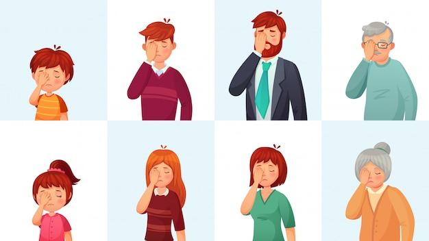Gesto facciale, persone deluse imbarazzate facce, nascondono la faccia dietro il palmo e gesti di vergogna dei cartoni animati