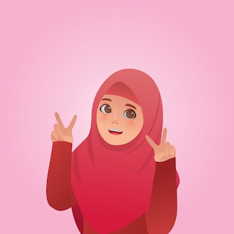 Gesture peace expressions cute moslem girl illustration