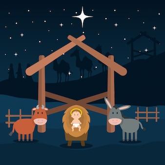 Gesù bambino in scuderia con mulo e bue
