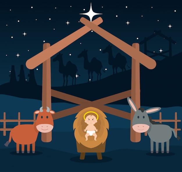 Gesù bambino nella culla della paglia