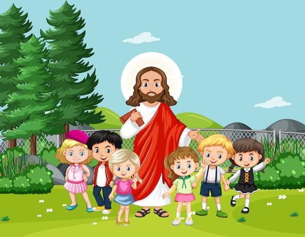 Gesù con i bambini nel parco