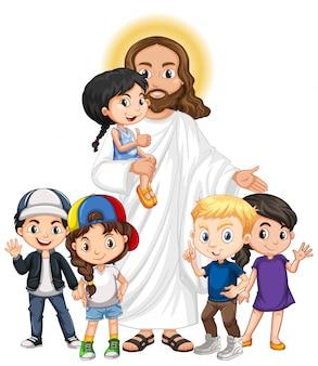 Gesù con un personaggio dei cartoni animati di gruppo di bambini
