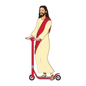 Gesù cristo sta cavalcando cartone animato di scooter