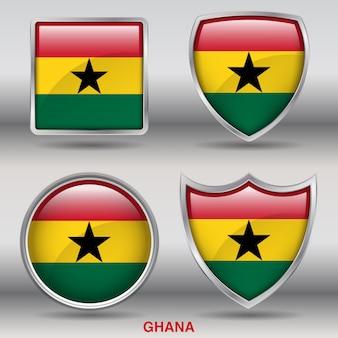 Ghana flag bevel 4 forme icona