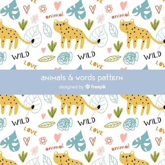 Ghepardo doodle colorato e pattern di parole