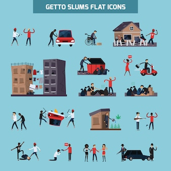 Ghetto slum flat icon set