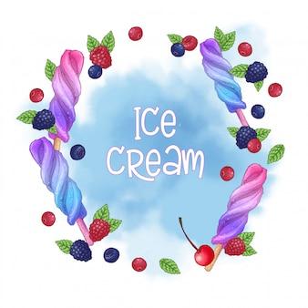 Ghiacciolo gelato e logo di cioccolato alle noci
