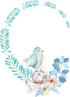 Ghirlanda con acquerello uccello carino, piante blu, fiori