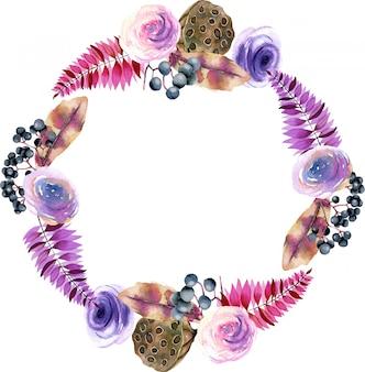 Ghirlanda con fiori ad acquerelli e scatole di loto