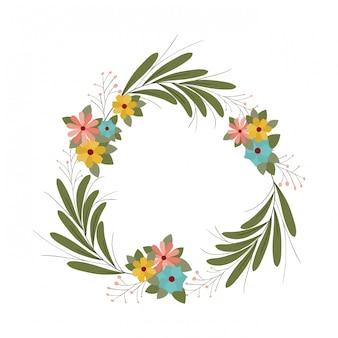 Ghirlanda con fiori e foglie icona isolata