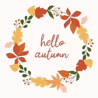Ghirlanda con foglie d'autunno. cornice rotonda colorata con foglie di quercia, acero, castagno.