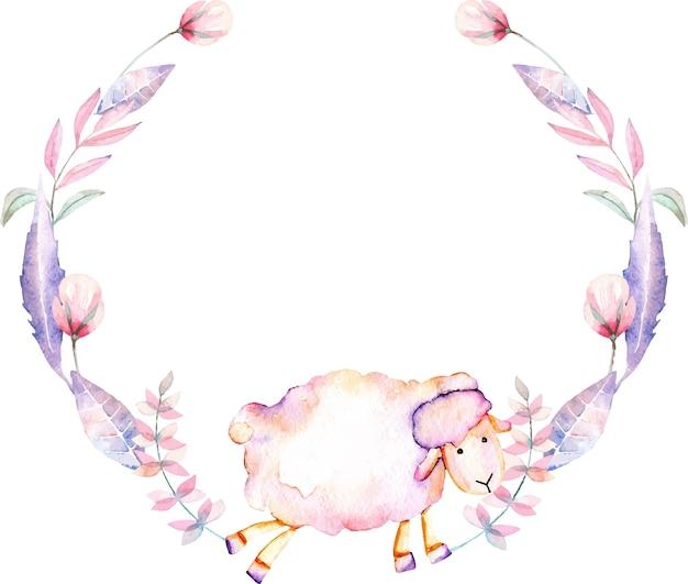 Ghirlanda con pecore acquerello e fiori rosa