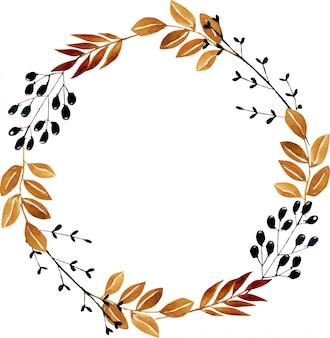 Ghirlanda con rami autunnali e bacche dell'acquerello, dipinto a mano su una priorità bassa bianca