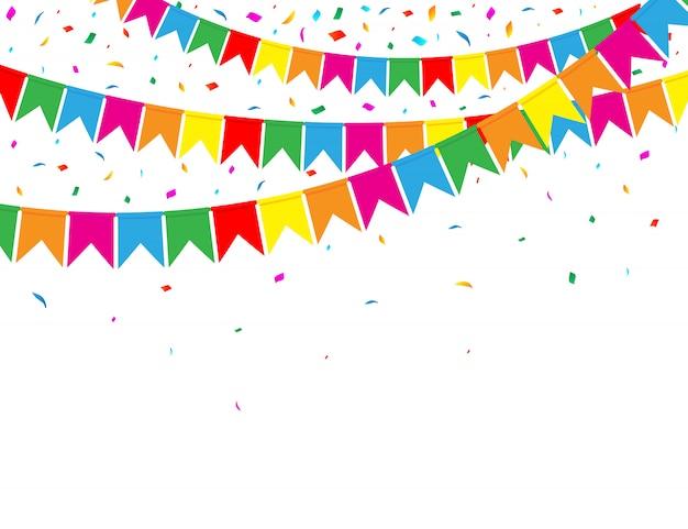 Ghirlanda di bandiere colorate e coriandoli su bianco