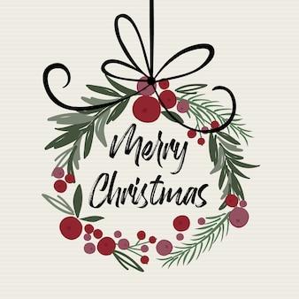 Ghirlanda di decorazioni natalizie con lettera di buon natale, illustrazione vettoriale tradizionale di natale