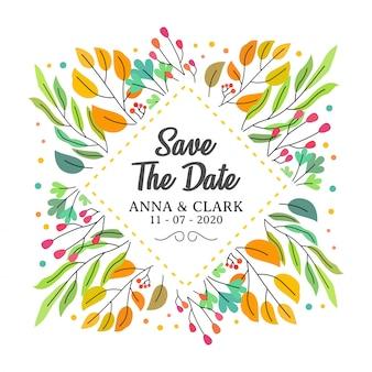 Ghirlanda di fiori colorati con fiori e foglie carine. design per biglietti d'invito, matrimonio o auguri