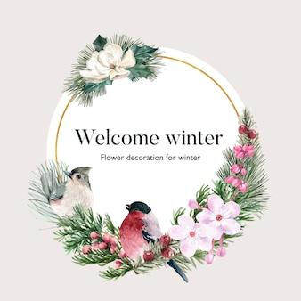 Ghirlanda di fiori d'inverno con uccelli, fiori, foglie