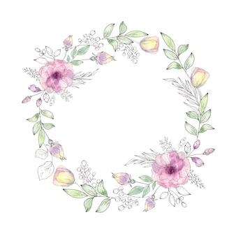 Ghirlanda di fiori e foglie