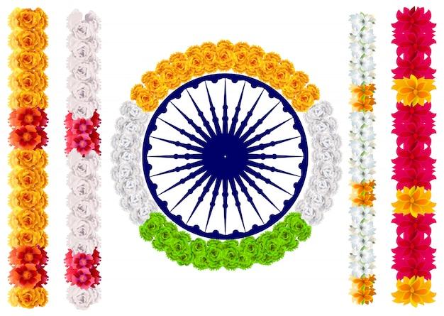 Ghirlanda di fiori indiani mala. bandiera india e ashoka chakra